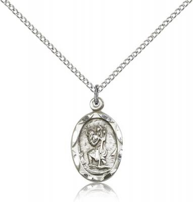 "Sterling Silver St. Christopher Pendant, Sterling Silver Lite Curb Chain, 3/4"" x 3/8"""