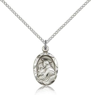 "Sterling Silver St. Anthony of Padua Pendant, Sterling Silver Lite Curb Chain, 3/4"" x 3/8"""