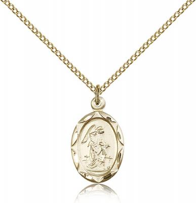 "Gold Filled Guardian Angel Pendant, Gold Filled Lite Curb Chain, 3/4"" x 3/8"""