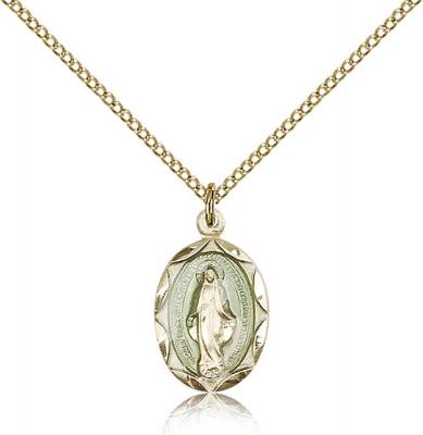 "Gold Filled Miraculous Pendant, Gold Filled Lite Curb Chain, 3/4"" x 3/8"""