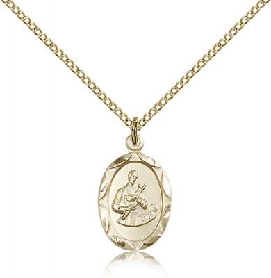 "Gold Filled St. Gerard Pendant, Gold Filled Lite Curb Chain, 3/4"" x 3/8"""