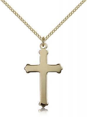 "Gold Filled Cross Pendant, Gold Filled Lite Curb Chain, 1 1/8"" x 5/8"""