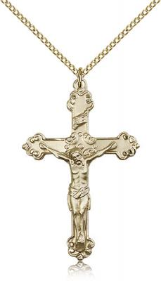 "Gold Filled Crucifix Pendant, Gold Filled Lite Curb Chain, 1 5/8"" x 1"""