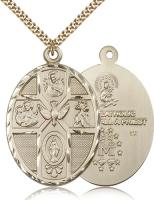 "Gold Filled 5-Way / Holy Spirit Pendant, Stainless Gold Heavy Curb Chain, 1 7/8"" x 1 1/4"""