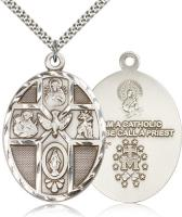 "Sterling Silver 5-Way / Holy Spirit Pendant, Stainless Silver Heavy Curb Chain, 1 7/8"" x 1 1/4"""