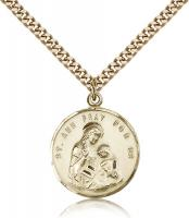 "Gold Filled St. Ann Pendant, Stainless Gold Heavy Curb Chain, 7/8"" x 3/4"""