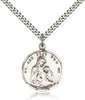"Sterling Silver St. Ann Pendant, Stainless Silver Heavy Curb Chain, 7/8"" x 3/4"""