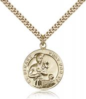 "Gold Filled St. Gerard Pendant, Stainless Gold Heavy Curb Chain, 7/8"" x 3/4"""