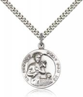 "Sterling Silver St. Gerard Pendant, Stainless Silver Heavy Curb Chain, 7/8"" x 3/4"""