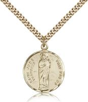 "Gold Filled St. Jude Pendant, Stainless Gold Heavy Curb Chain, 7/8"" x 3/4"""