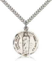 "Sterling Silver St. Jude Pendant, Stainless Silver Heavy Curb Chain, 7/8"" x 3/4"""