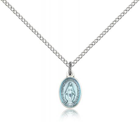 "Sterling Silver Miraculous Pendant, Sterling Silver Lite Curb Chain, 1/2"" x 1/4"""
