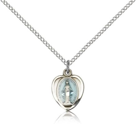 "Sterling Silver Miraculous Pendant, Sterling Silver Lite Curb Chain, 1/2"" x 3/8"""