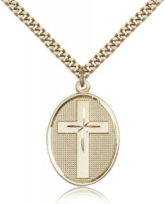 "Gold Filled Cross Pendant, Stainless Gold Heavy Curb Chain, 1 1/8"" x 3/4"""