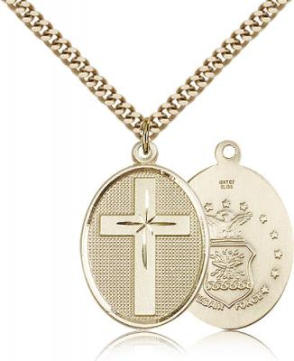 "Gold Filled Cross / Air Force Pendant, Stainless Gold Heavy Curb Chain, 1 1/8"" x 3/4"""
