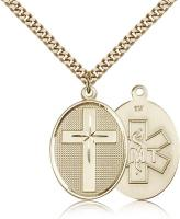 "Gold Filled Cross / Emt Pendant, Stainless Gold Heavy Curb Chain, 1 1/8"" x 3/4"""