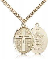 "Gold Filled Cross / Army Pendant, Stainless Gold Heavy Curb Chain, 1 1/8"" x 3/4"""