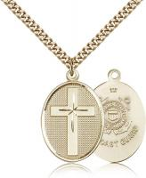 "Gold Filled Cross / Coast Guard Pendant, Stainless Gold Heavy Curb Chain, 1 1/8"" x 3/4"""