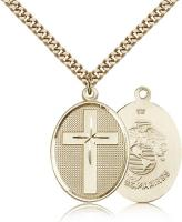 "Gold Filled Cross / Marines Pendant, Stainless Gold Heavy Curb Chain, 1 1/8"" x 3/4"""