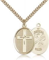 "Gold Filled Cross / National Guard Pendant, Stainless Gold Heavy Curb Chain, 1 1/8"" x 3/4"""