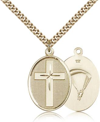 "Gold Filled Cross / Paratrooper Pendant, Stainless Gold Heavy Curb Chain, 1 1/8"" x 3/4"""