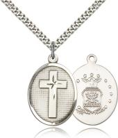"Sterling Silver Cross / Air Force Pendant, Stainless Silver Heavy Curb Chain, 1"" x 3/4"""