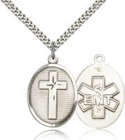 "Sterling Silver Cross / Emt Pendant, Stainless Silver Heavy Curb Chain, 1 1/8"" x 3/4"""
