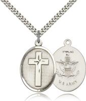 "Sterling Silver Cross / Army Pendant, Stainless Silver Heavy Curb Chain, 1"" x 3/4"""