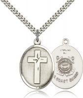 "Sterling Silver Cross / Coast Guard Pendant, Stainless Silver Heavy Curb Chain, 1"" x 3/4"""