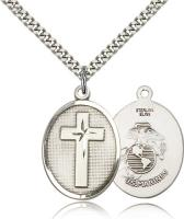 "Sterling Silver Cross / Marines Pendant, Stainless Silver Heavy Curb Chain, 1"" x 3/4"""
