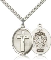 "Sterling Silver Cross / National Guard Pendant, Stainless Silver Heavy Curb Chain, 1"" x 3/4"""