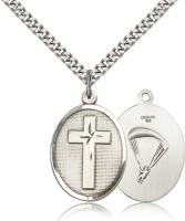 "Sterling Silver Cross / Paratrooper Pendant, Stainless Silver Heavy Curb Chain, 1"" x 3/4"""