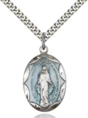 Sterling Silver Blue Miraculous Medal 0801EMSS/24S