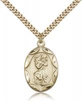 "Gold Filled St. Christopher Pendant, Stainless Gold Heavy Curb Chain, 1"" x 5/8"""