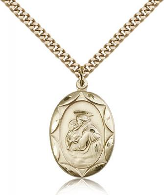 "Gold Filled St. Anthony Pendant, Stainless Gold Heavy Curb Chain, 1"" x 5/8"""