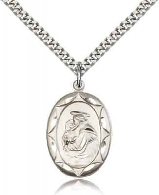 "Sterling Silver St. Anthony Pendant, Stainless Silver Heavy Curb Chain, 1"" x 5/8"""