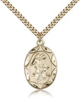 "Gold Filled Guardian Angel Pendant, Stainless Gold Heavy Curb Chain, 1"" x 5/8"""