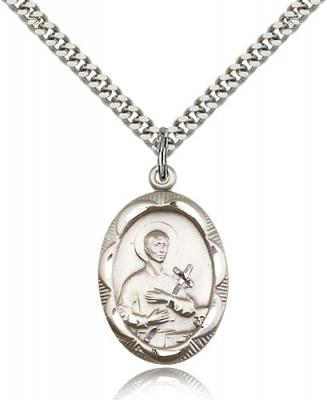 "Sterling Silver St. Gerard Pendant, Stainless Silver Heavy Curb Chain, 1"" x 5/8"""