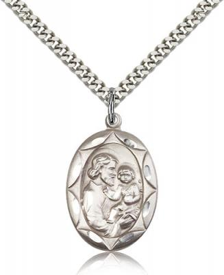 "Sterling Silver St. Joseph Pendant, Stainless Silver Heavy Curb Chain, 1"" x 5/8"""