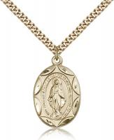 "Gold Filled Miraculous Pendant, Stainless Gold Heavy Curb Chain, 1"" x 5/8"""
