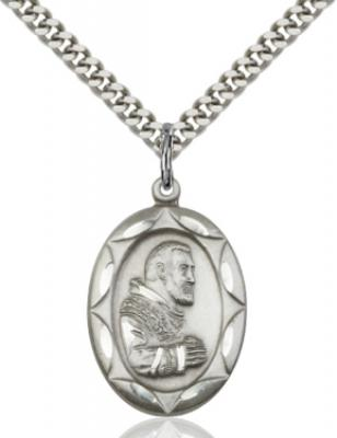 "Sterling Silver St. Pio of Pietrelcina Pendant, Stainless Silver Heavy Curb Chain, 1"" x 5/8"""