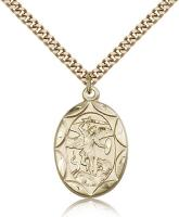 "Gold Filled St. Michael the Archangel Pendant, Stainless Gold Heavy Curb Chain, 1"" x 5/8"""