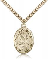 "Gold Filled Scapular Pendant, Stainless Gold Heavy Curb Chain, 1"" x 5/8"""