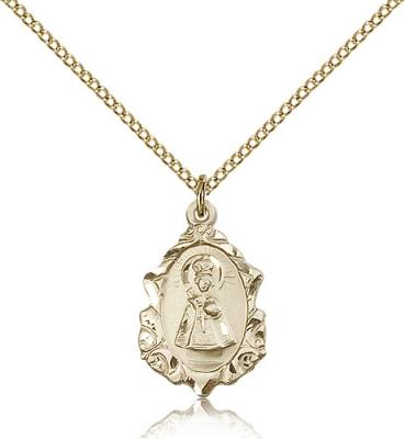 "Gold Filled Infant of Prague Pendant, Gold Filled Lite Curb Chain, 3/4"" x 1/2"""