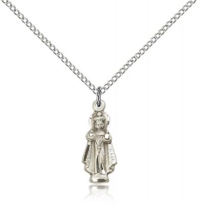 "Sterling Silver Infant of Prague Pendant, Sterling Silver Lite Curb Chain, 3/4"" x 1/4"""