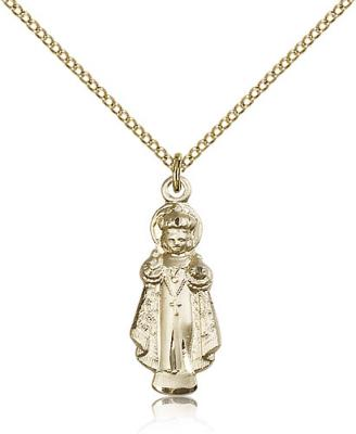 "Gold Filled Infant of Prague Pendant, Gold Filled Lite Curb Chain, 1"" x 3/8"""