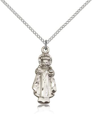 "Sterling Silver Infant of Prague Pendant, Sterling Silver Lite Curb Chain, 1"" x 3/8"""