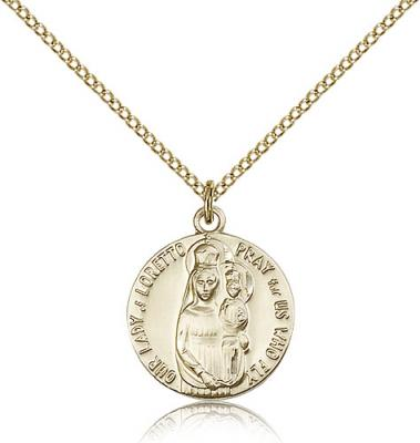 "Gold Filled Our Lady of Loretto Pendant, Gold Filled Lite Curb Chain, 3/4"" x 5/8"""