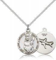 "Sterling Silver Our Lady of Loretto Pendant, Sterling Silver Lite Curb Chain, 3/4"" x 5/8"""