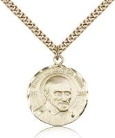 "Gold Filled St. Vincent De Paul Pendant, Stainless Gold Heavy Curb Chain, 1"" x 7/8"""